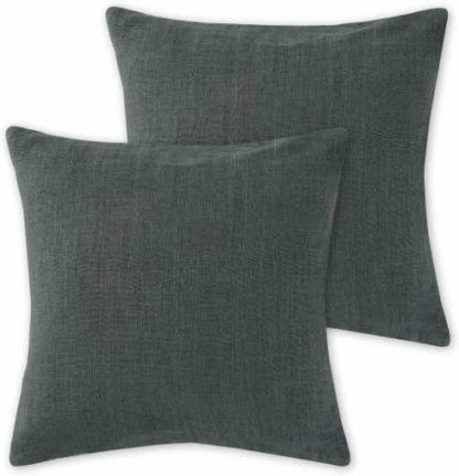 An Image of Adra Set of 2 100% Linen Cushions, 50 x 50cm, Dark Charcoal