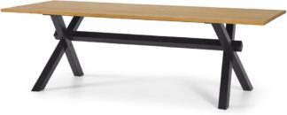 An Image of Bayron 10 Seat Dining Table, Brushed Oak & Charcoal