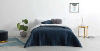 An Image of Julius Quilted Velvet Bedspread, 225x220cm, Ink Blue