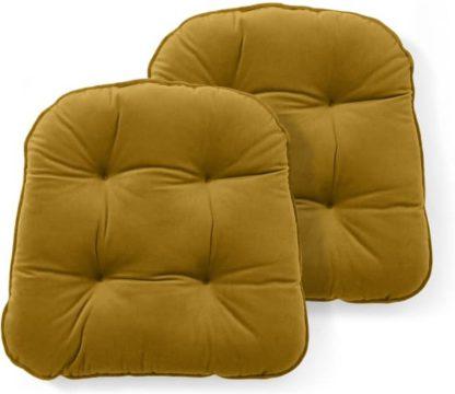 An Image of Julius Set of 2 Velvet Top Seat Pads, 40x40cm, Antique Gold
