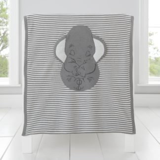 An Image of Dumbo Knitted Blanket Grey and White