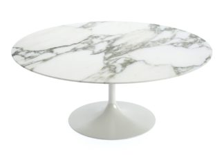 An Image of Knoll Saarinen Round Coffee Table Arabescato Coated Marble