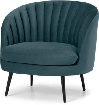 An Image of Sylvie Accent Armchair, Steel Blue Velvet