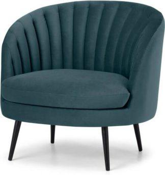 An Image of Sylvie Accent Armchair, Steel Blue Velvet