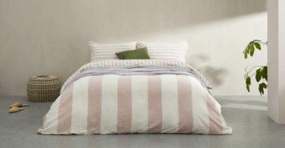 An Image of Kelsey Linen/Cotton Stripe Duvet Cover + 2 Pillowcases, King, Plaster Pink UK