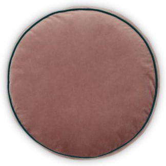 An Image of Julius Round Velvet Cushion, 45cm diam, Soft Pink