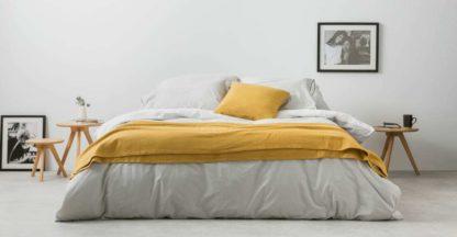 An Image of Solar Cotton Reversible Duvet Cover + 2 Pillowcases, Double, Grey/White UK