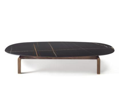 An Image of Porada Quay Oval Coffee Table Canaletta Walnut Frame Black Sahara Noir