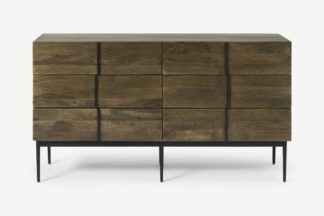 An Image of Rakara Wide Chest of Drawers, Warm Chestnut Mango Wood