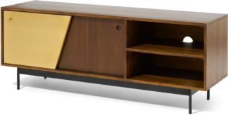 An Image of Mischa Wide TV Stand, Acacia Wood & Brass