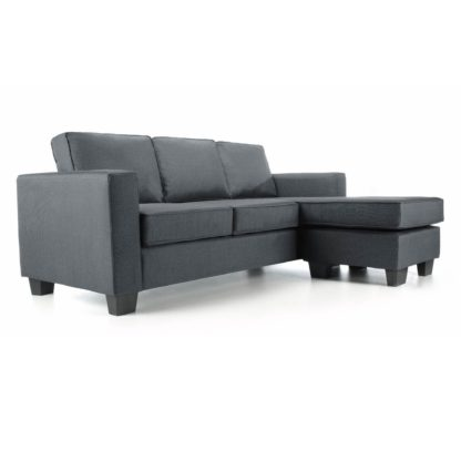 An Image of Vincent Fabric Reversible Corner Chaise Sofa Grey