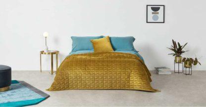 An Image of Julius Quilted Velvet Bedspread, 225x220cm, Antique Gold