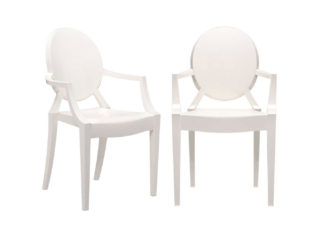 An Image of Kartell Louis Ghost Armchairs Glossy White - Minimum of 2 only