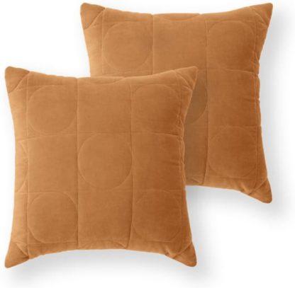 An Image of Keeble Set of 2 Velvet Cushions, 45 x 45cm, Cinnamon