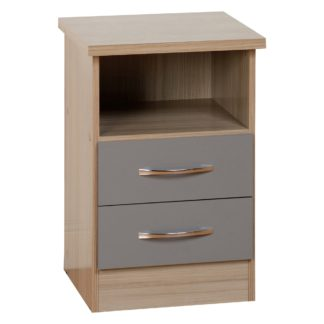 An Image of Nevada 2 Drawer Grey Bedside Table Grey and Brown