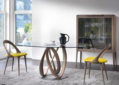 An Image of Porada Infinity Elliptical Table Glass, Canaletta Walnut & Chrome