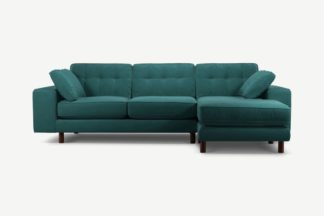 An Image of Content by Terence Conran Tobias, Right Hand facing Chaise End Sofa, Kingfisher Blue Velvet, Dark Wood Leg