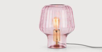 An Image of Ewer Table Lamp, Blush Pink Glass and Polished Brass