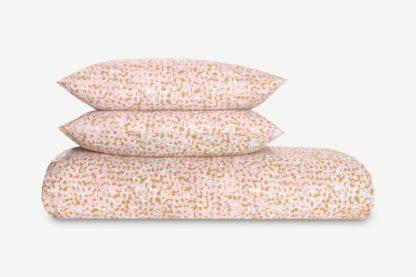 An Image of Zeno Cotton Duvet Cover + 2 Pillowcases, Double, Soft Pink/Tan