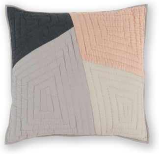 An Image of Bloco 60 x 60cm Patchwork Cushion, Pink & Grey