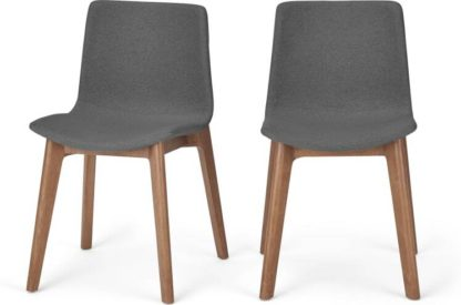 An Image of Set of 2 Perl Dining Chairs, Marl Grey and Walnut