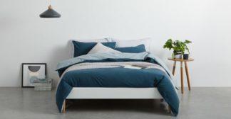 An Image of Solar Cotton Reversible Duvet Cover + 2 Pillowcase, King, Midnight Blue UK