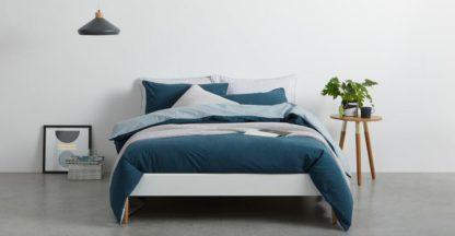 An Image of Solar Cotton Reversible Duvet Cover + 2 Pillowcase, Double, Midnight Blue UK
