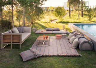 An Image of Gandia Blasco Garden Layers Rug Tartan Terracotta
