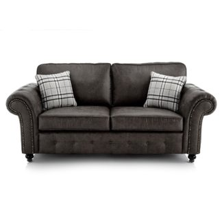 An Image of Oakland Faux Leather 3 Seater Sofa Black