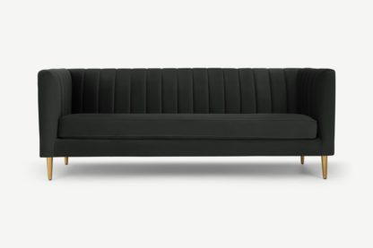 An Image of Amicie 3 Seater Sofa, Dark Anthracite Velvet
