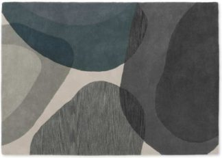 An Image of Holt Wool Rug, Large 160 x 230cm, Grey and Teal