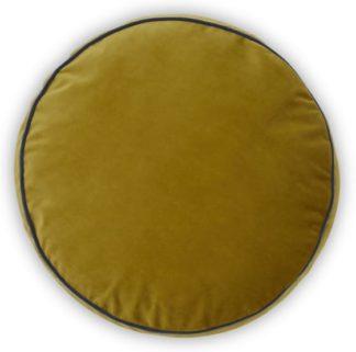 An Image of Julius Round Velvet Cushion, 45cm diam, Antique Gold