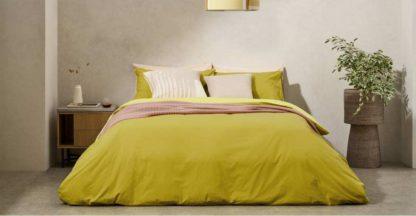 An Image of Solar Reversible Cotton Duvet Cover + 2 Pillowcases, Double, Dark Mustard/Soft Yellow UK