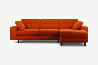 An Image of Content by Terence Conran Tobias, Right Hand facing Chaise End Sofa, Plush Paprika Velvet, Dark Wood Leg