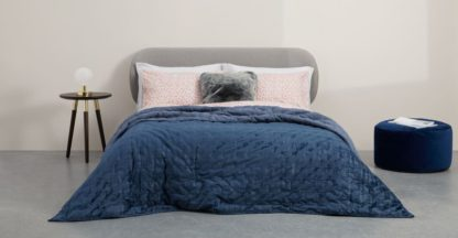 An Image of Tabitha Distressed Velvet Quilted Bedspread 225x220cm, Midnight Blue