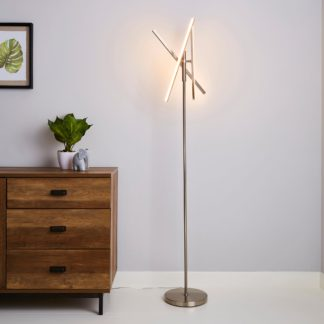 An Image of Talis Integrated LED Touch Dimmable Floor Lamp Nickel