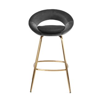An Image of Stella Bar Stool Grey Velvet Grey