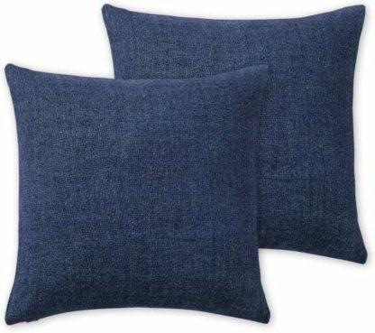 An Image of Adra Set of 2 100% Linen Cushions, 50 x 50cm, Indigo Blue