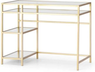 An Image of Connelly Desk, Brass & Smoked Glass