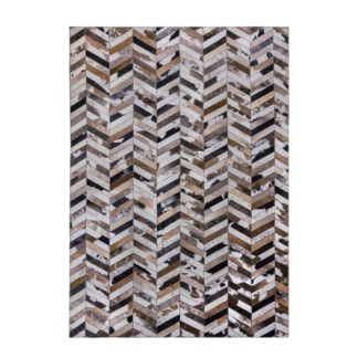 An Image of Jesse Faux Hide Rug Grey, Brown and White