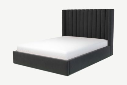 An Image of Custom MADE Cory King Size Bed with Lift Up Ottoman Storage, Ashen Grey Cotton Velvet