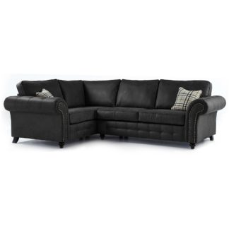 An Image of Oakland Left Hand Faux Leather Corner Sofa Black