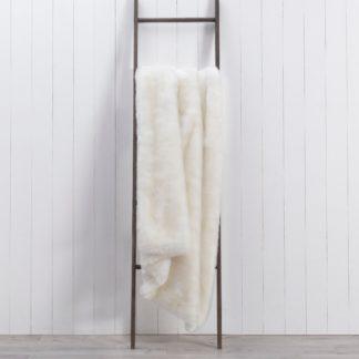 An Image of Alanna White Faux Fur 130cm x 180cm Throw White