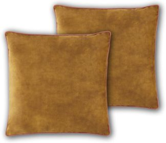 An Image of Castele Set of 2 Luxury Velvet Cushions, 50x50cm, Gold with Blush Pink Piping
