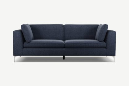 An Image of Monterosso 3 Seater Sofa, Textured Mist Blue with Chrome Leg