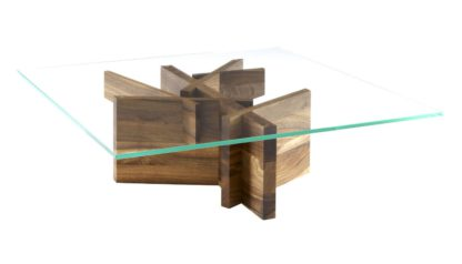 An Image of Ligne Roset Ashera Square Occasional Low Table European Walnut