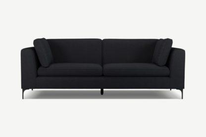 An Image of Monterosso 3 Seater Sofa, Elite Slate with Black Leg