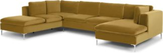 An Image of Monterosso Left Hand Facing Corner Sofa, Mustard Velvet