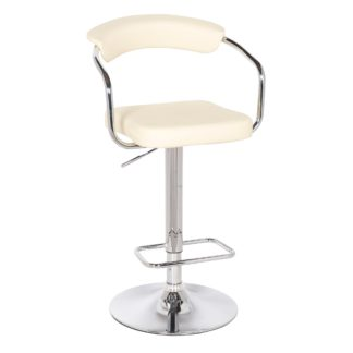 An Image of Houston Bar Stool Cream PU Leather Cream (Natural)