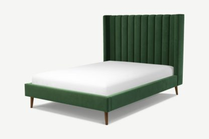An Image of Custom MADE Cory Double Bed, Lichen Green Cotton Velvet with Walnut Stained Oak Legs